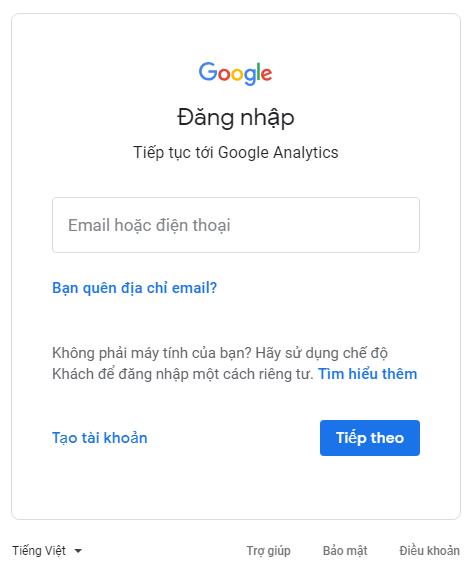 đăng nhập Google Analytics
